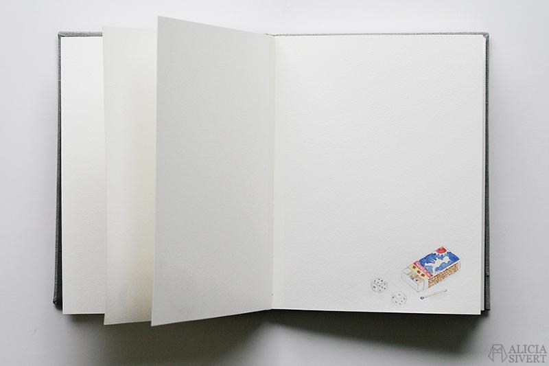 Mormors bok - handbunden bok med illustrationer i akvarell, av Alicia Sivertsson - www.aliciasivert.se / Tändstickor solstickan blå