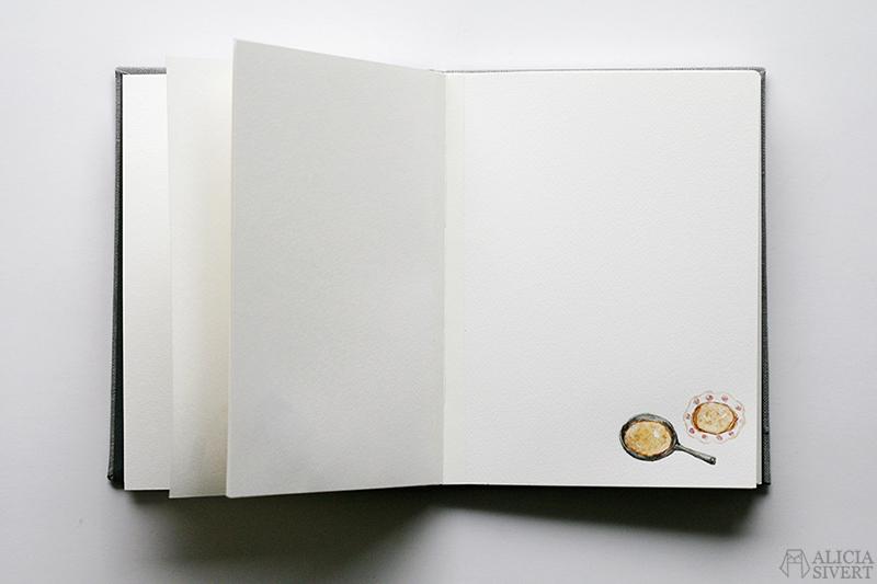 Mormors bok - handbunden bok med illustrationer i akvarell, av Alicia Sivertsson - www.aliciasivert.se / Pannkakor