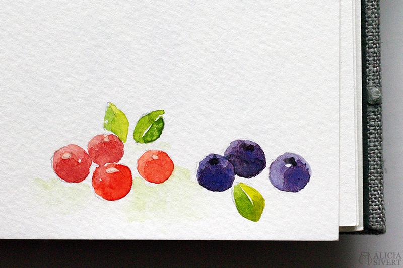 Mormors bok - handbunden bok med illustrationer i akvarell, av Alicia Sivertsson - www.aliciasivert.se / Lingon och blåbär