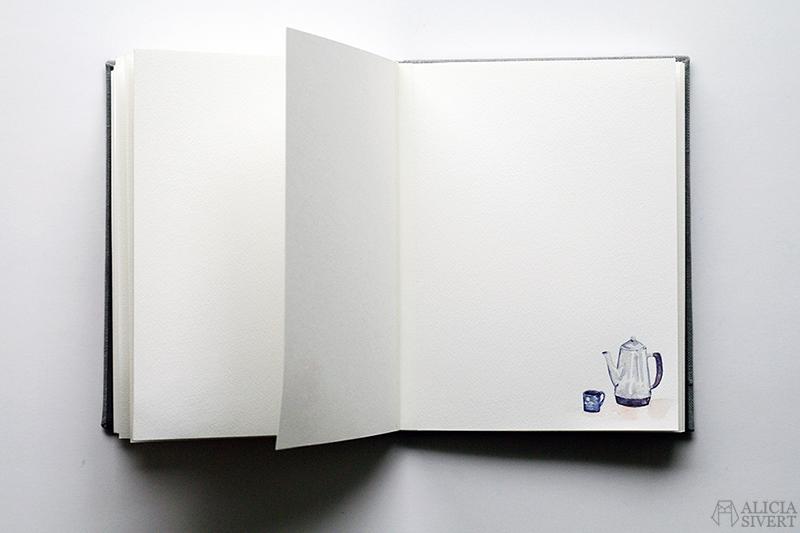 Mormors bok - handbunden bok med illustrationer i akvarell, av Alicia Sivertsson - www.aliciasivert.se / Kaffekanna kopp