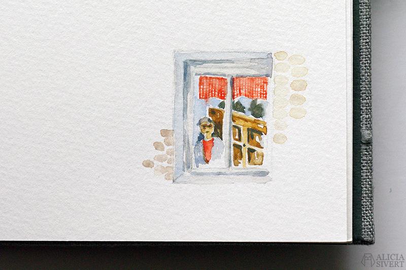 Mormors bok - handbunden bok med illustrationer i akvarell, av Alicia Sivertsson - www.aliciasivert.se / Vinka hejdå