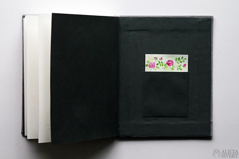 Mormors bok - handbunden bok med illustrationer i akvarell, av Alicia Sivertsson - www.aliciasivert.se