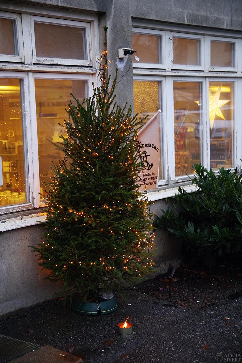 Julgran utanför porslinsfabriken. Första advent i Gustavsberg. Foto av Alicia Sivertsson - aliciasivert.se