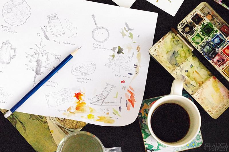 Processbilder från skapandet av Mormors bok - handbunden bok med illustrationer i akvarell, av Alicia Sivertsson - www.aliciasivert.se / bokbinderi binda böcker akvarell illustration illustrationer teckning teckningar skiss skisser beställning beställningar beställa skapa personlig present