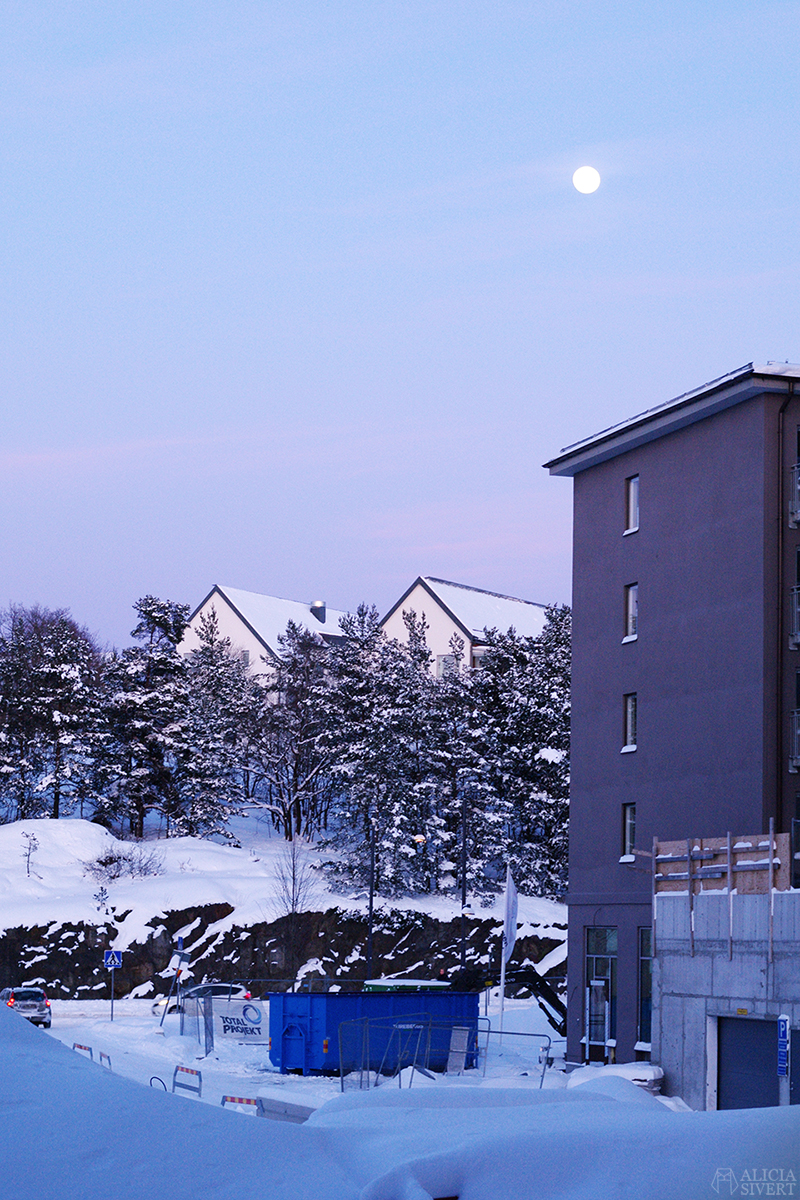 februari förra året - www.aliciasivert.se // snö fullmåne gustavsberg porslinskvarteren