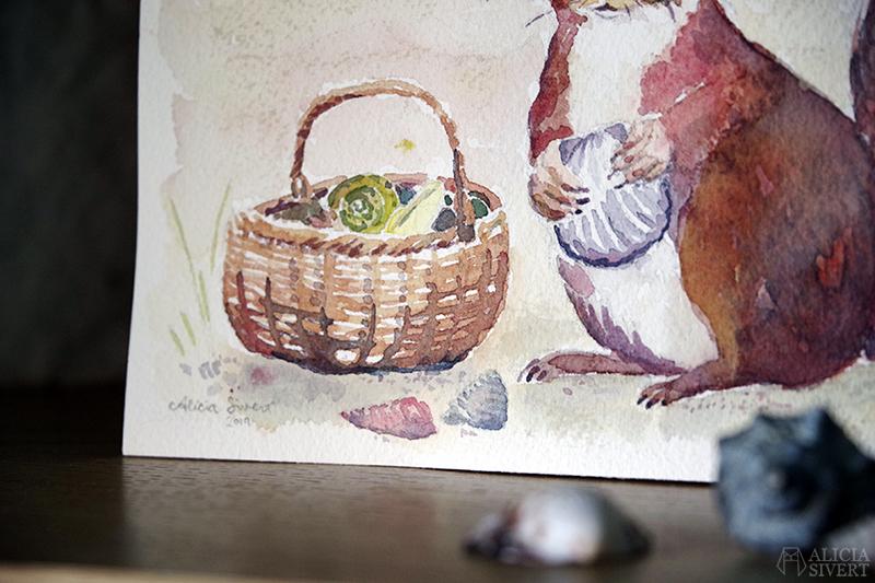 Snäckorren på stranden, illustration i akvarell av Alicia Sivertsson - www.aliciasivert.se // Snäckorre ekorre snäcka samlar snäckor i korg på sandstrand strand måla målning barnbok barnboksillustration barnboksillustratör illustratör bok barn