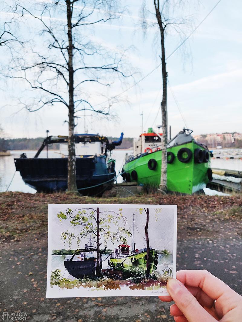 Värmdövykort Kurt & Idöborg - vykort med motiv från Värmdö i akvarell, av Alicia Sivertsson - aliciasivert.se