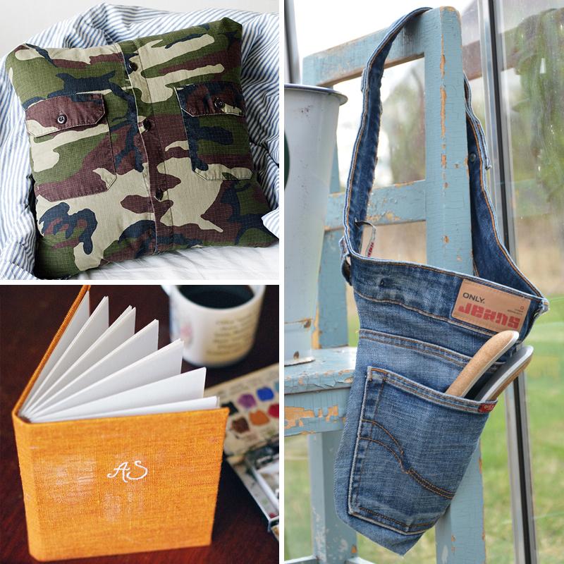 Återbruka kläder - www.aliciasivert.se // återbruk sy om gör om skapa nytt bok verktygsbälte jeans skjorta kudde