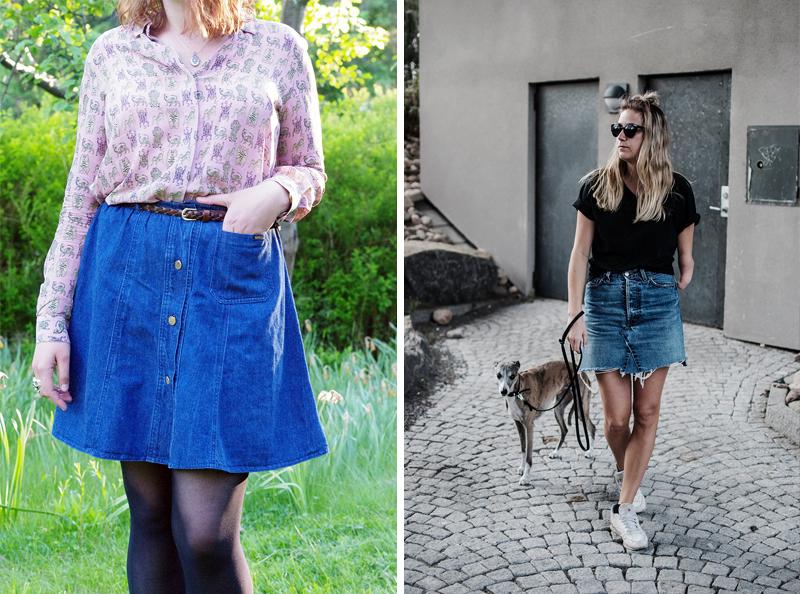 Återbruka kläder - www.aliciasivert.se // återbruk sy om diy gör om klipp jeanskjol jeans kjol fransar