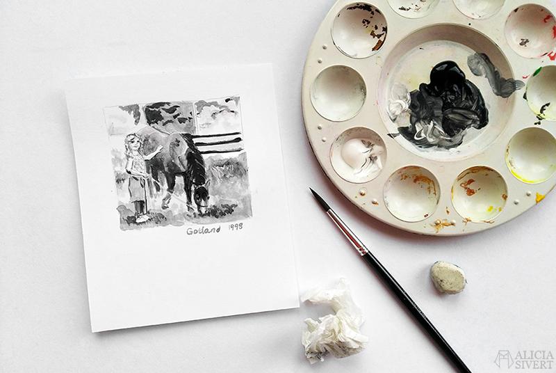 Barndomsbild målad av Alicia Sivertsson - www.aliciasivert.se // Mars förra året
