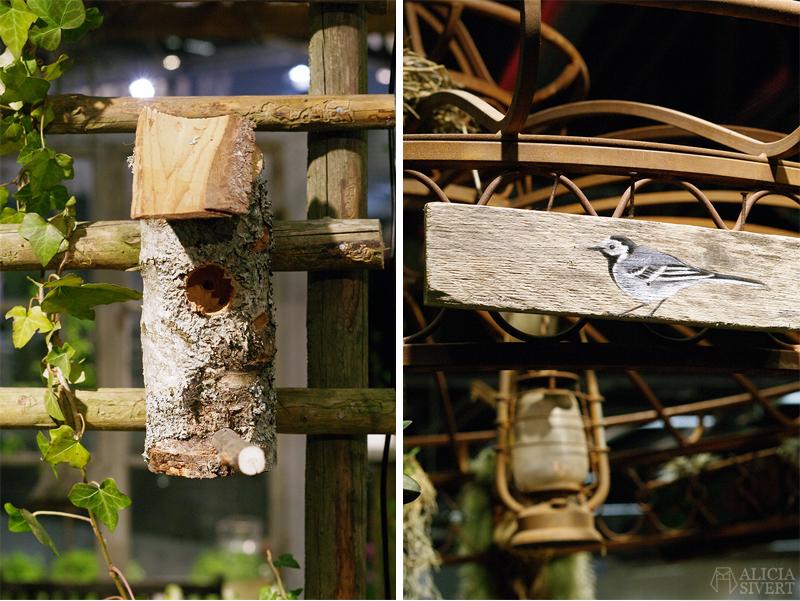 Nordiska Trädgårdar 2018 Trädgårdsmässan Stockholm Älvsjö sädesärla fågelholk av björkstam trädstam