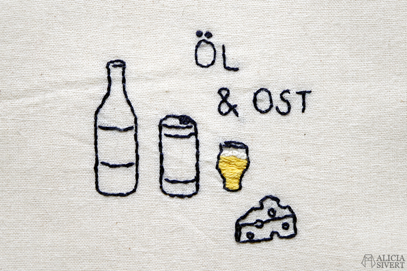 Öl & ost, broderi på tygkasse av Alicia Sivertsson - www.aliciasivert.se // beer and cheese kasse brodera fritt broderi påse tygpåse embroidery tote bag hand embroidered återbruk remake