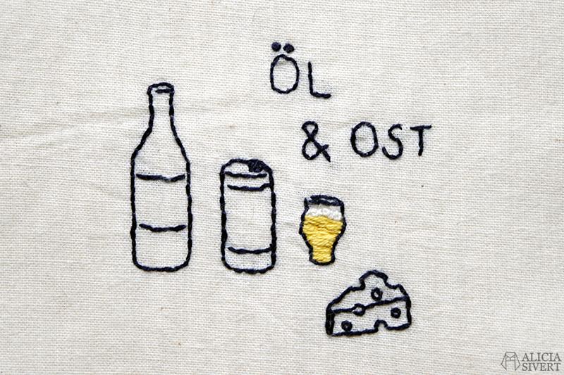 Öl & ost, broderi på tygkasse av Alicia Sivertsson - www.aliciasivert.se // beer and cheese kasse brodera fritt broderi påse tygpåse embroidery tote bag hand embroidered återbruk remake