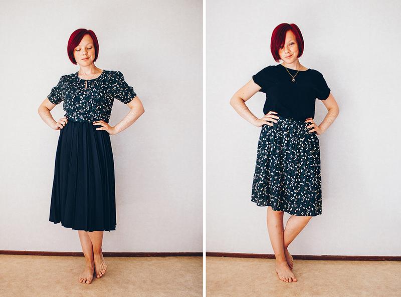 Återbruka kläder - www.aliciasivert.se // återbruk sy om diy gör om klipp klänning blus kjol topp