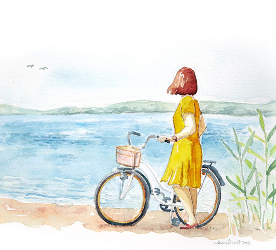 Baggensjärden, bloggheader i akvarell målad av Alicia Sivertsson - www.aliciasivert.se