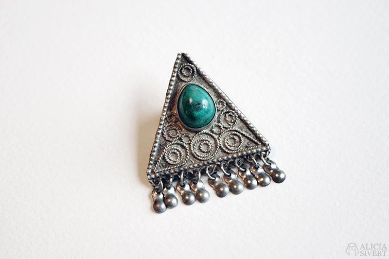 silver brosch silverbrosch turkos sten tradera