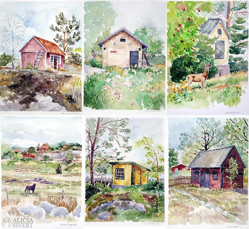 Värmdömotiv, akvarellmålningar av Alicia Sivertsson - www.aliciasivert.se // akvarell värmdö målning målningar