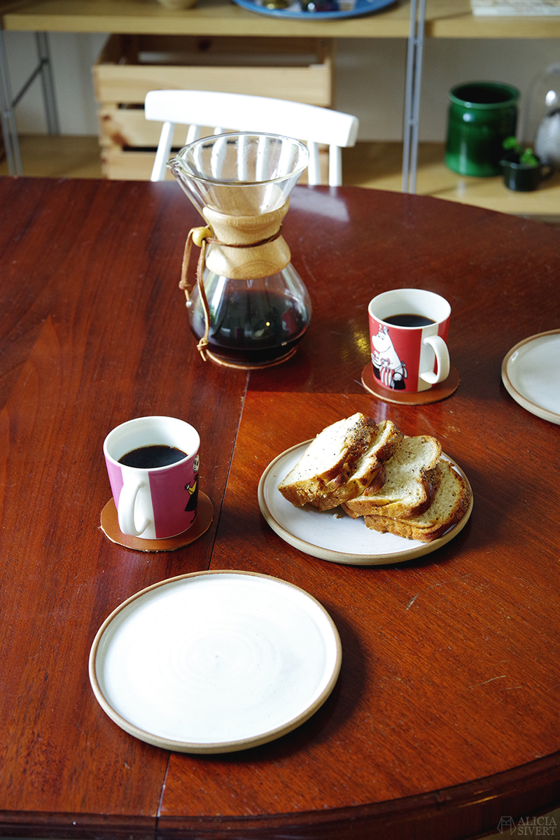 Bulle och kaffe ur muminkoppar - www.aliciasivert.se