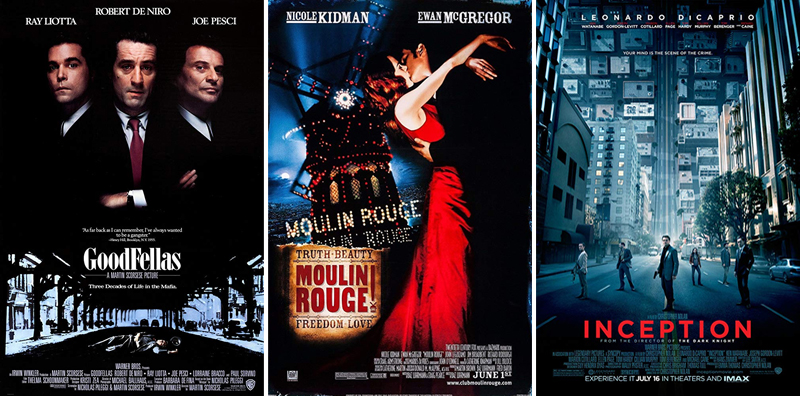 En film i veckan #1-26 - www.aliciasivert.se // Goodfellas Moulin Rouge Inception