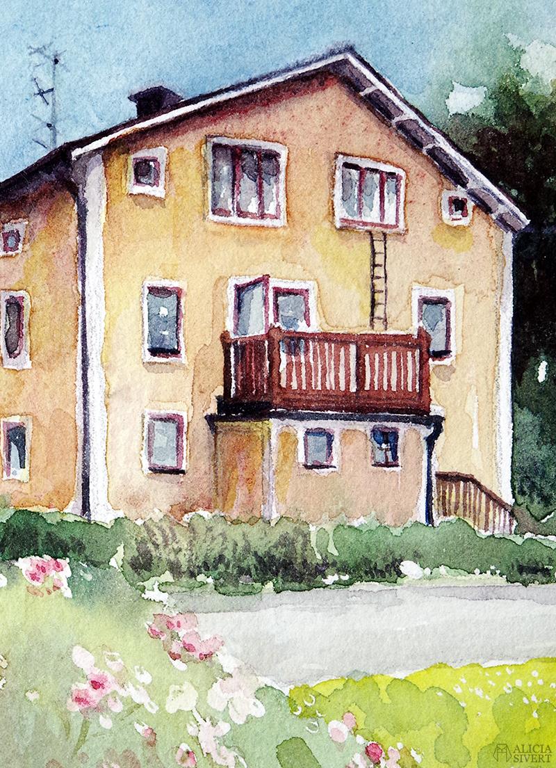 Bergsgatan (detalj) i Gustavsberg. akvarell med Värmdömotiv av Alicia Sivertsson - www.aliciasivert.se