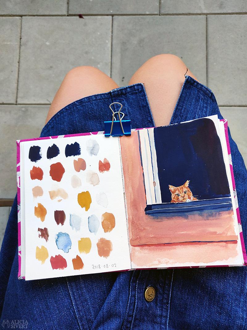 Katt i fönster, gouache av Alicia Sivertsson - www.aliciasivert.se