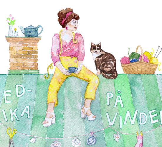Header till bloggen Fredrikapåvinden av Alicia Sivertsson i akvarell. Alicia Sivert aliciasivert Fredrika på vinden sömnad stickning sy sticka katt katten Greta loppis loppisfynd tak vind skorsten akvarell illustration måla målning akvarellmålning uppdrag beställning blogg bloggheader beställa