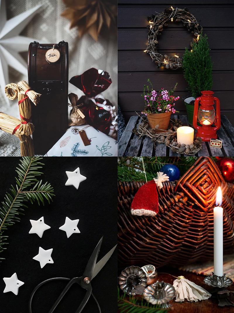 DIY hållbart julpynt: etiketter i återbruksmaterial, kransar av lärk, juldekorationer i lufttorkad lera och textilt julgranspynt av vadmal
