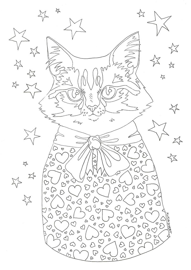 Målarboksbild av katten Vifslan i jultröja - www.aliciasivert.se, teckning av Alicia Sivertsson aliciasivert färglägga målarbok katt katter julkatt julkatter jul göra tillsammans i jul skapa ihop kreativitet med barn släkt familj färglägg måla enkelt printable skriv ut