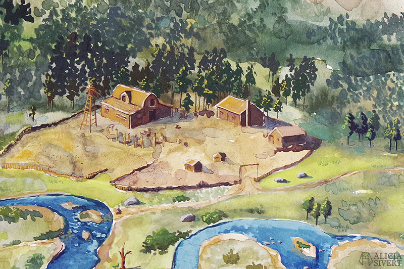 Little Creek River, West Elizabeth, gouache av Alicia Sivertsson - www.aliciasivert.se // gouachemålning målning painting red dead redemption 2 rdr2 big valley tv-spel fan art old west hanging dog ranch o'driscolls colm o'driscoll boys
