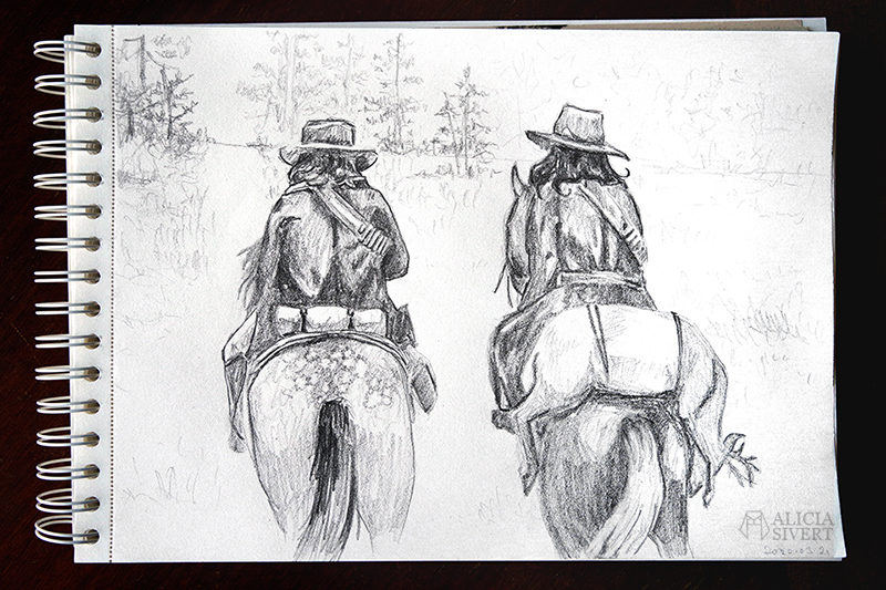 RDR2-teckningar - www.aliciasivert.se // Red Dead Redemption 2 drawings