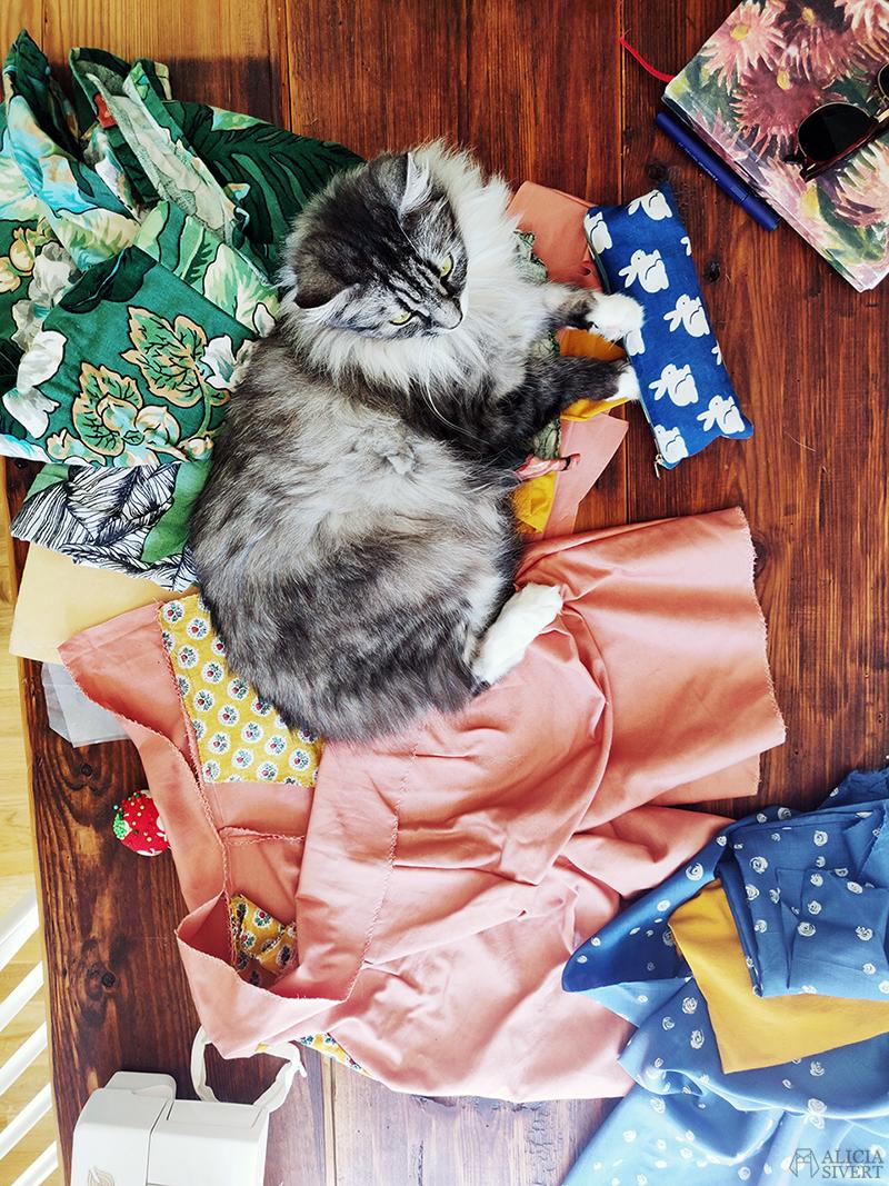 Sybingo20 med Sypeppen. Foto av Alicia Sivertsson - www.aliciasivert.se // sy sybingo sommar kläder klädsömnad katt katten vifslan återbruk återbruksmaterial tyg