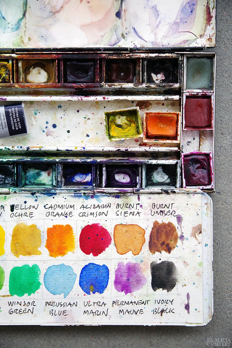 Min akvarellåda - www.aliciasivert.se // morfar konstnärlig förebild akvarell akvarellpalett akvarellfärg palett låda målarlåda måleri present sorgebearbetning genom kreativitet och skapande winsor and newton professional vattenfärg färglåda färger