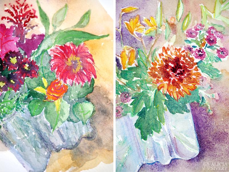 Morfars bukett, akvarell av Nils Carlson och parafras av Alicia Sivertsson - www.aliciasivert.se // morfar dotterdotter måla målning måleri akvarellmålning akvarellpennor måla av målning kreativ sorgebearbetning genom konst skapande kreativitet
