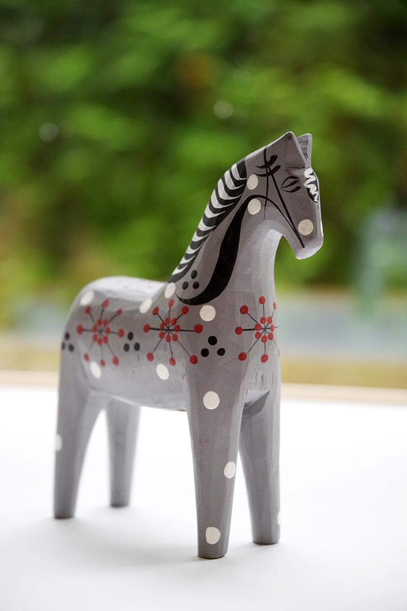 Mina trähästar, samling av hästar i trä. Rättvikshästen John Gudmunds