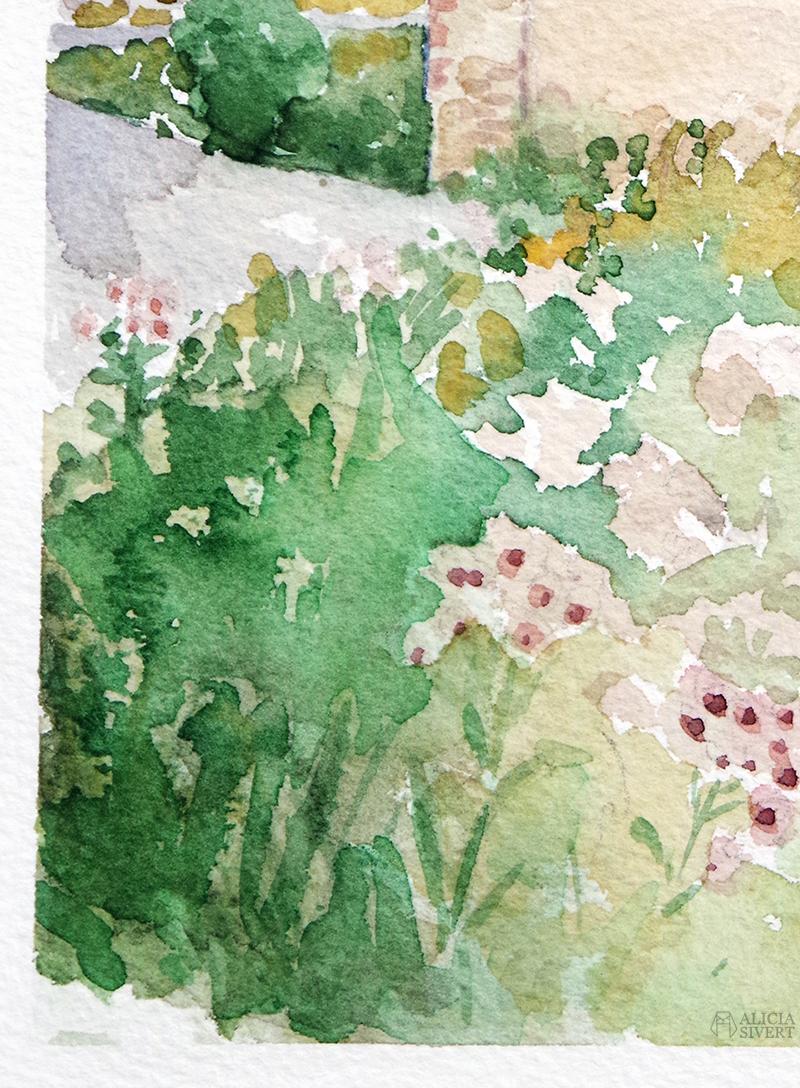 aliciasivert.se alicia sivert sivertsson aliciasivert värmdö värmdömotiv akvarell akvarellmålning målning målningar konst vattenfärg watercolor watercolour water color colour aquarelle house painting paintings art sweden swedish gustavsberg gustavsbergs hamn oxstallet oxstall tegelhus gult tegel