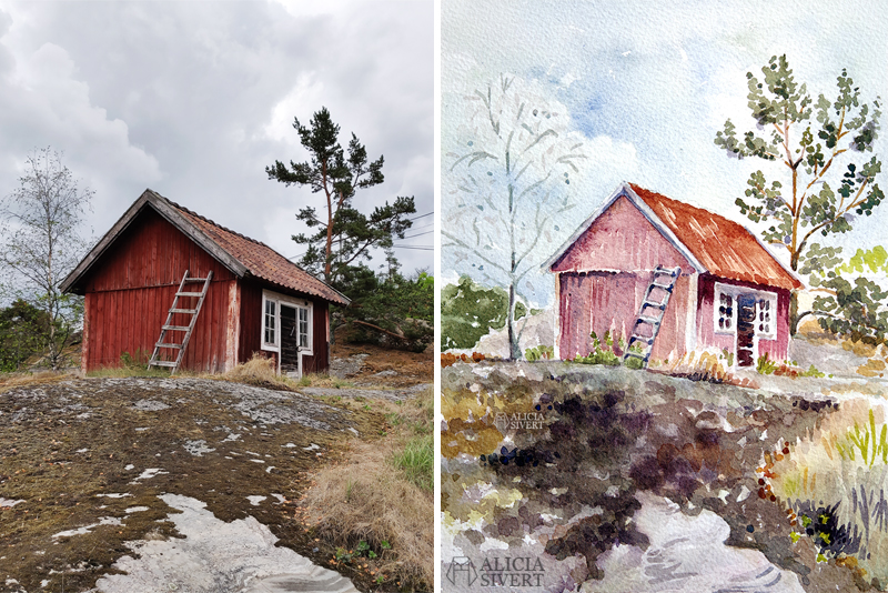 aliciasivert.se alicia sivert sivertsson aliciasivert stuga med stege värmdö värmdömotiv nora gård akvarell akvarellmålning målning målningar konst vattenfärg watercolor watercolour water color colour aquarelle house hut cabin ladder painting paintings art sweden swedish referens referensbild bild foto referens referensfoto