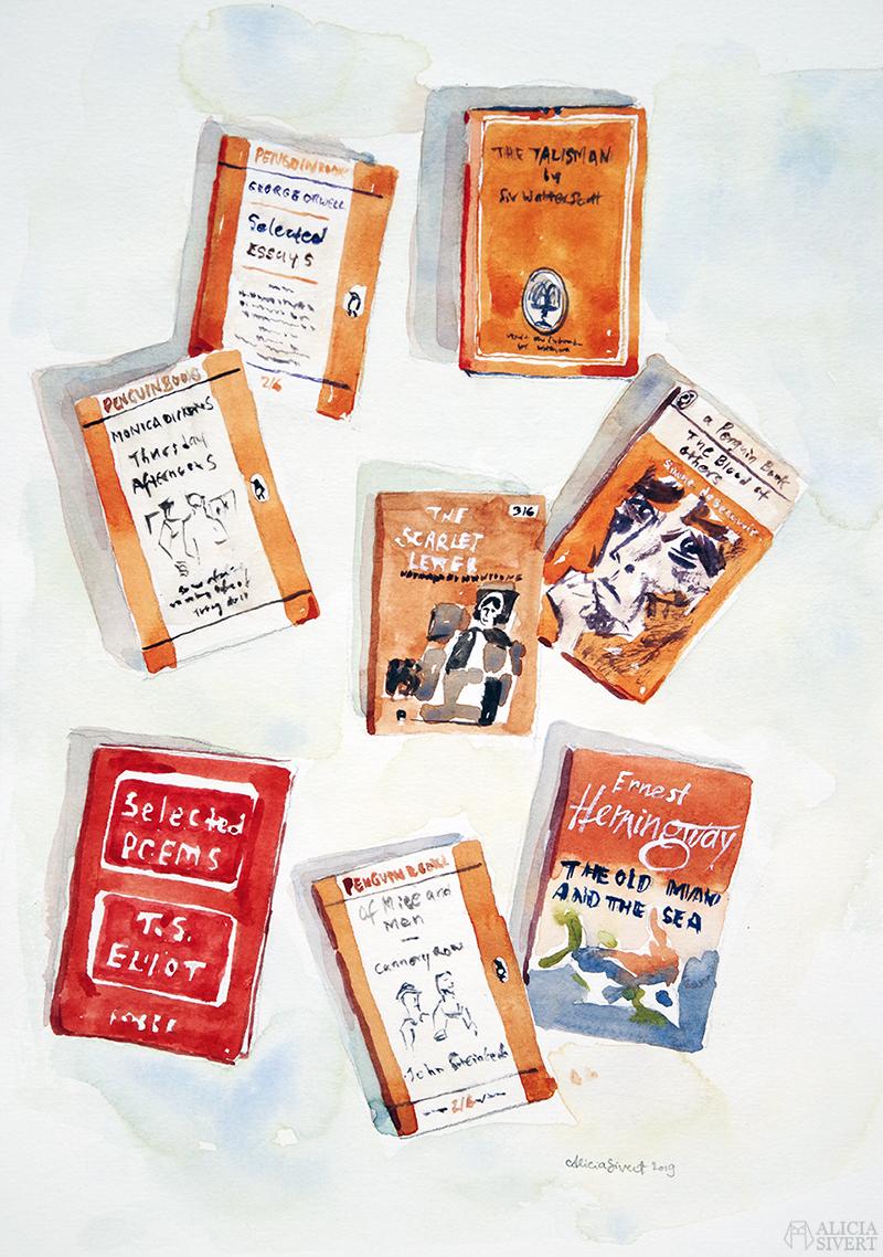 Chrissys böcker, akvarell målad av Alicia Sivertsson - www.aliciasivert.se efter ett foto av Christina Isacson - http://highfivelivet.blogspot.com/ // måla vattenfärg bok orange orangea illustration