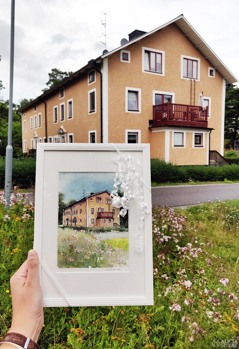 Bergsgatan i Gustavsberg. akvarell med Värmdömotiv av Alicia Sivertsson - www.aliciasivert.se